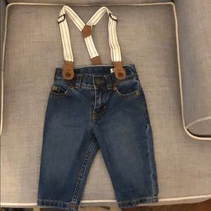 Carters baby boy jeans with suspenders